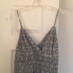 Maxi sun dress, ocean blue mosaic tile print